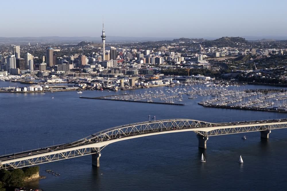 Aerial-View-Image-Of-The-Auckland-Harbour-Bridge